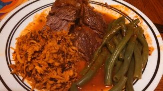 Braised Chuck Roast, sweet potato hash & greenbeans