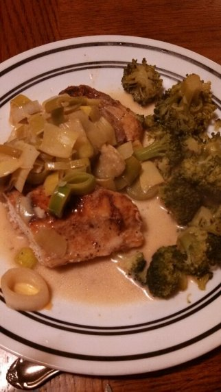 Coconutty, Lemony Leek & Artichoke Chicken with broccoli