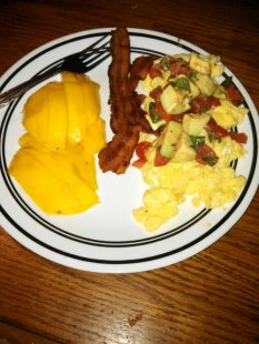 mango, bacon, scrambled egg with avocado salsa